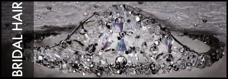 Swarovski crystal designer hair pieces for brides. Tiaras, hair pins, and small swarovski crystal accents for brides and bridesmaids.