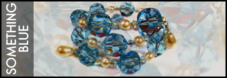 Something blue jewelry collection made with Swarovski crystal and sterling silver.